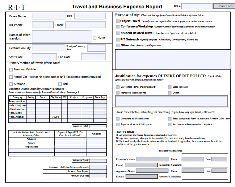 standard expense report form