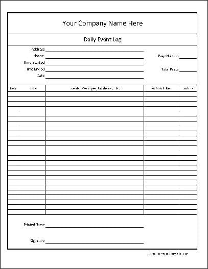 Daily Log Template Time Log Sheet Template Time Log Template