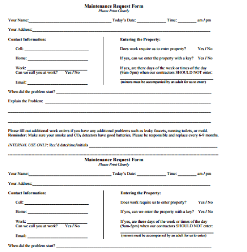 maintenance request form template 5974