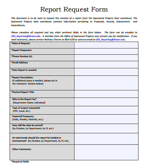 Business Report Request Form