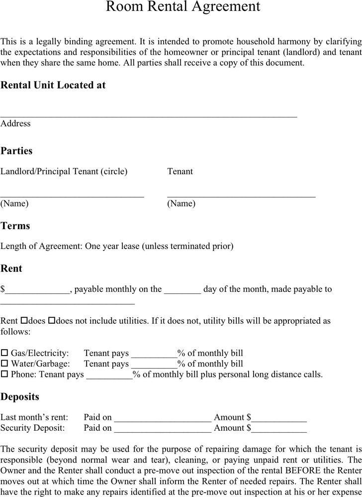 Simple Lease Template rental billing statement template room – Room Rental Agreement Template Free