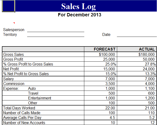 sales diary template