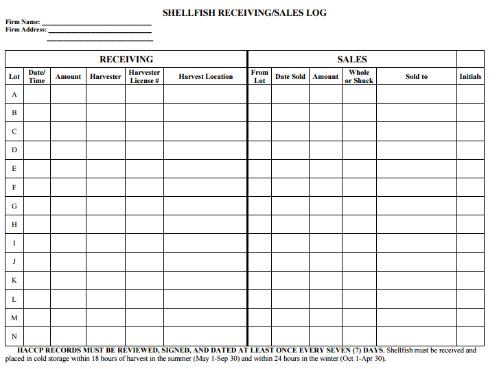 sales records template