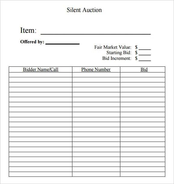 6 Silent Auction Bid Sheet Templates formats Examples in Word Excel – Sample Silent Auction Bid Sheet