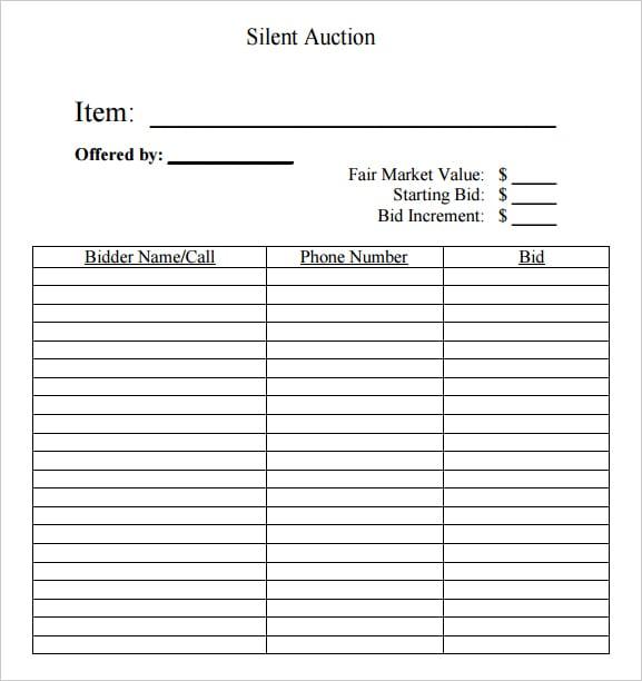 Silent Auction Bid Sheet Template 4974  Bid Templates