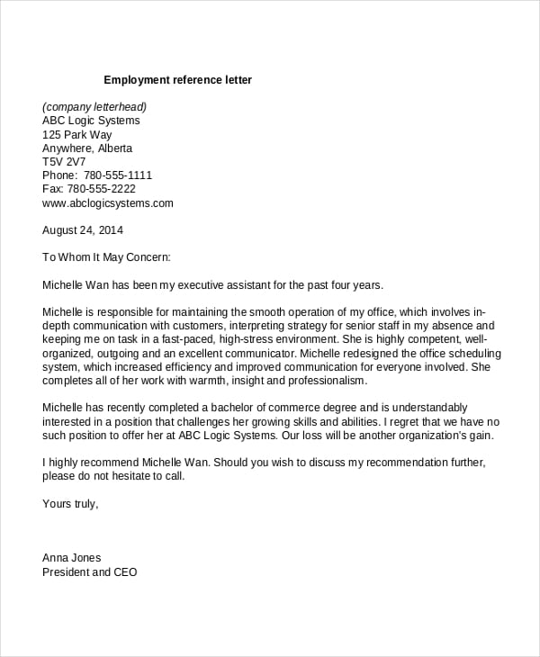 5 Business Reference Letter Templates - formats, Examples in Word ...