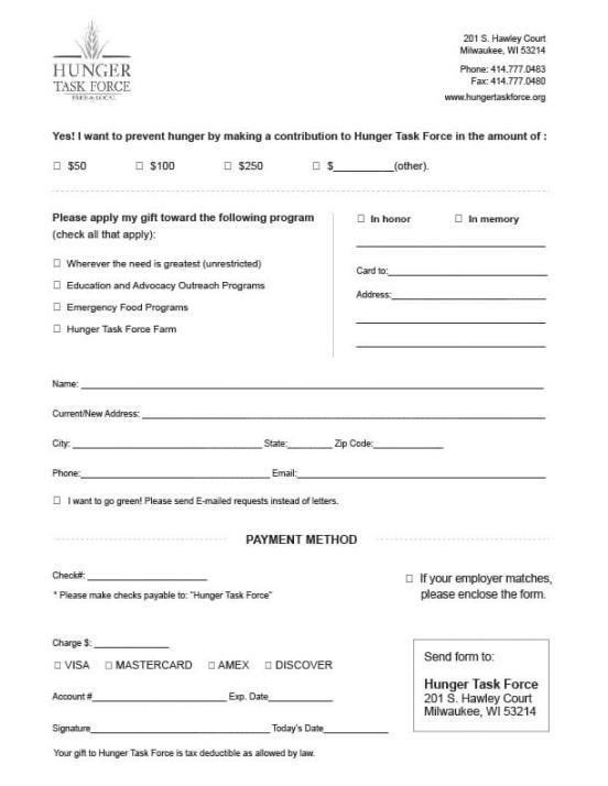 donations form template