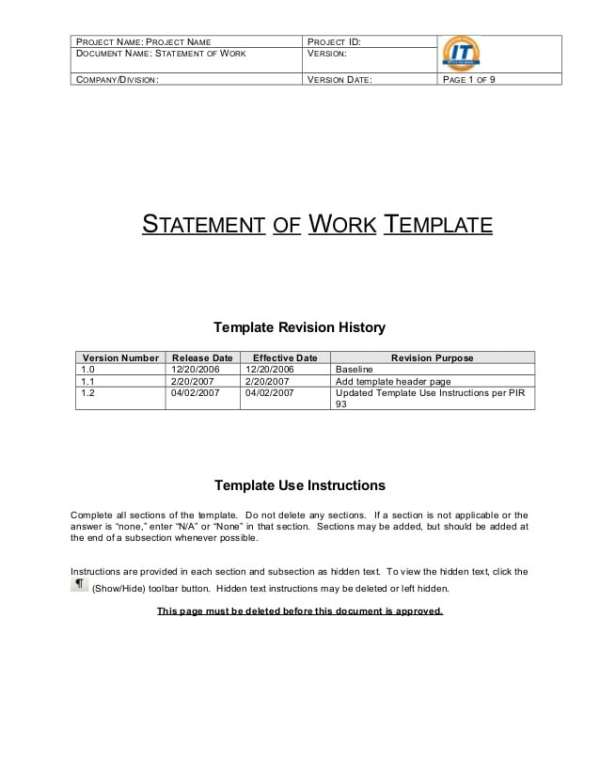 5 Statement Of Work Templates Word - formats, Examples in Word Excel