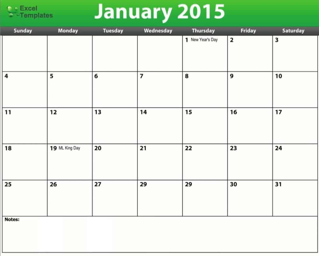 2015 calendar schedule template