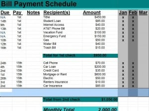 bill pay schedule template - Vertola