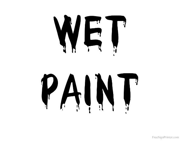 Printable Wet Paint Black Text Sign