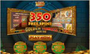350 Free Spins on Golden Princess Slot