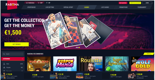 Rabona Casino for players