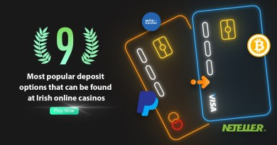 The nine most popular deposit options that can be found at Irish online casinos
