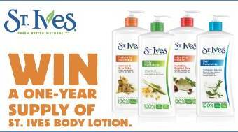 Win a Years Supply of St Ives Body Lotion