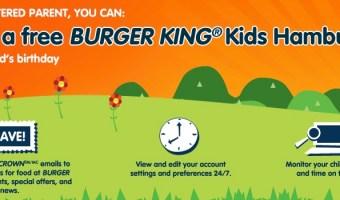 Free Burger King Kids Hamburger on Their Birthday