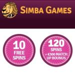 Simba Games 10 gratis spins + €300 casino bonus + 120 free spins