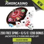 Joker Casino   10 FS no deposit + €1200 free bonus + 200 gratis spins