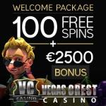 Vegas Crest Casino | 100 free spins & 500% up to $/€2500 free bonus