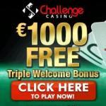 Challenge Casino 100 free spins & 175% up to €1000 free money bonus