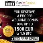 Das Ist Casino 250 free spins + 3.5 bitcoins or €1500 free bonus