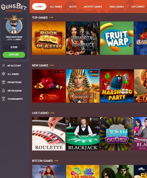 Gunsbet Casino Review - play for free in bitcoin casino!