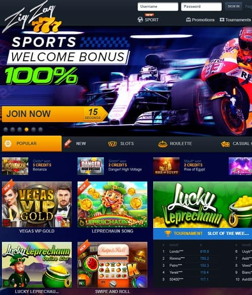 Zig Zag 777 Casino free play bonus