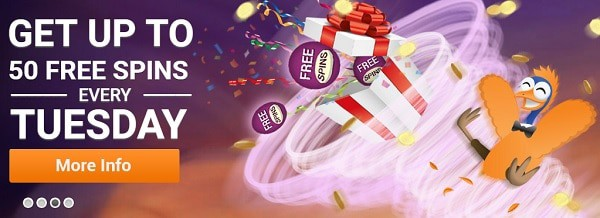 EmuCasino 50 free spins bonus on Tuesday