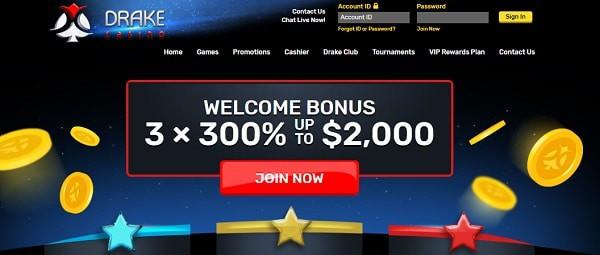 Drake Casino 3x 300% up to $2,000 welcome bonus plus 540 free spins