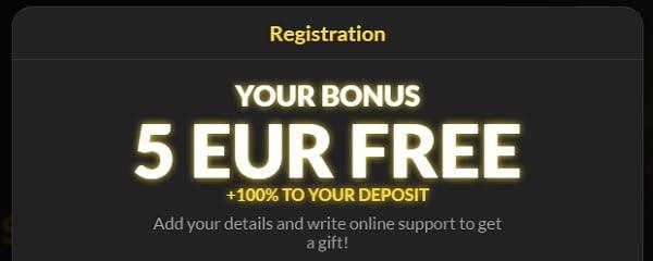 5 EUR welcome bonus