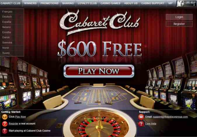 Cabaret Club Casino review: 100% bonus and 25 gratis spins