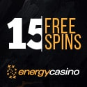 Energy Casino 15 gratis spins (no deposit) + 55 free spins and 150% up to €400 welcome bonus