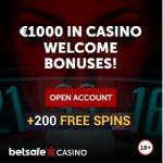 Betsafe Casino – 200 free spins and 100% up to £/€1,000 free bonus