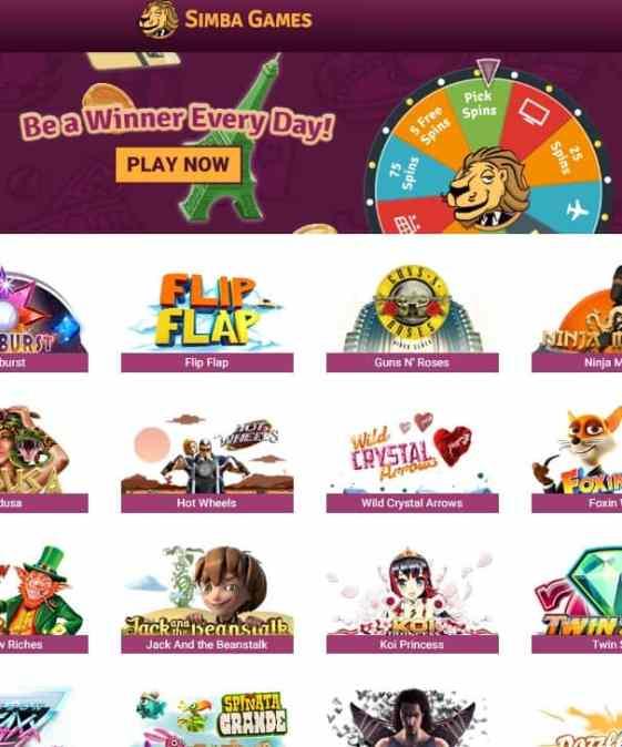 Simba Games Casino Review