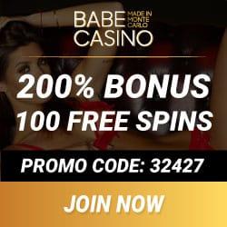 Babe Casino 100 free spins + €2000 high roller bonus (promo code)