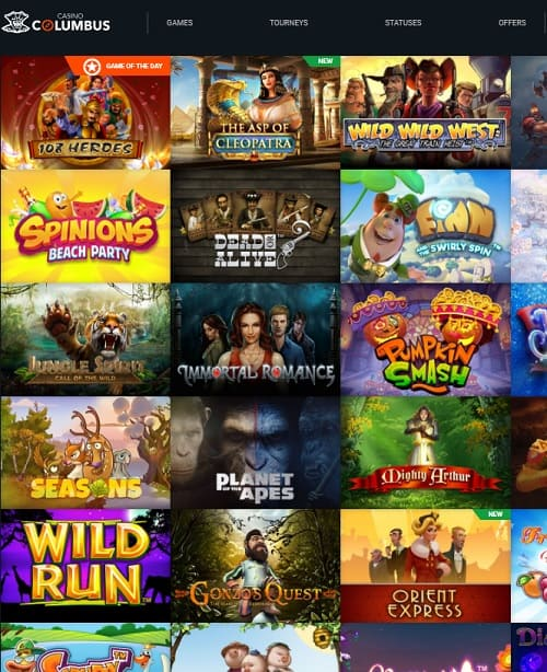 Columbus Casino Review - free spins and no deposit bonuses