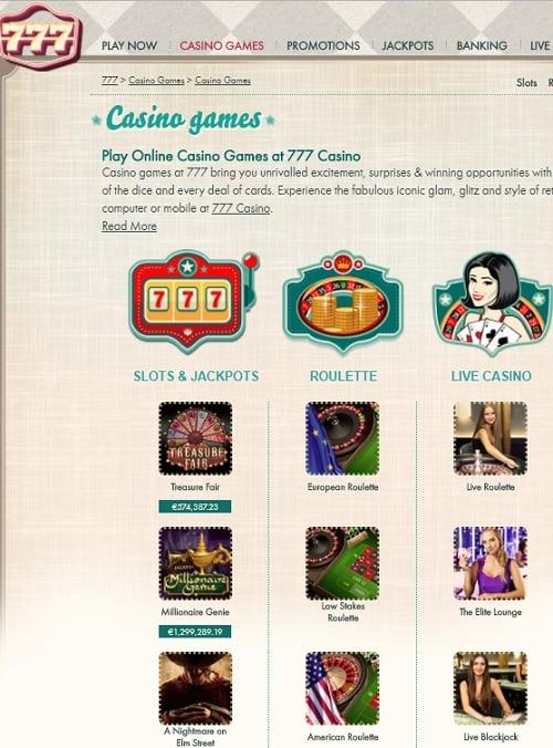 777.com Casino free spins bonus