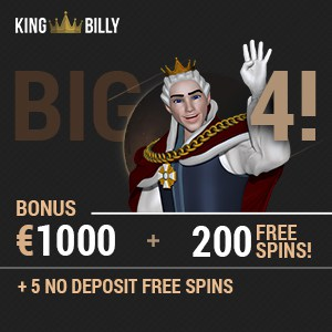 King Billy Casino 5 FS no deposit + 200 free spins + 1000 EUR bonus