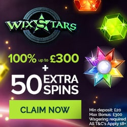 Wixstars Casino 50 extra spins and 100% up to €/£/$300 free bonus