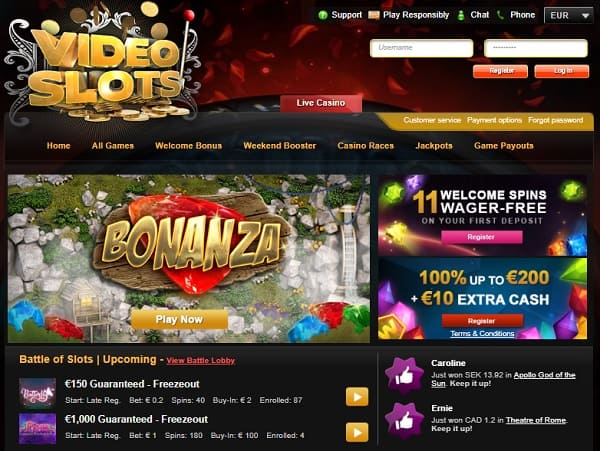 Video Slots Casino 11 free spins bonus