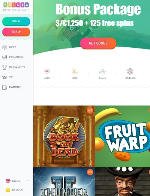 Spinia Casino free play games