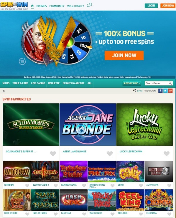 Spin and Win Casino welcome bonuses