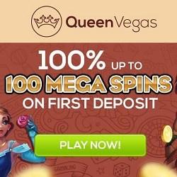 Queen Vegas Casino 100 free spins or 100% up to 100 EUR bonus