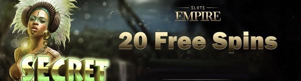 Slots Empire 20 free spins no deposit needed