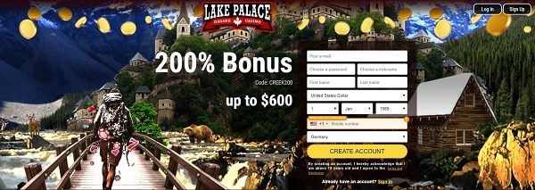 200% bonus up to $600 at Lake Palace Casino