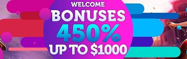 450% in deposit bonuses