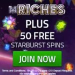 mRiches Casino | £500 free cash + 50 free spins + no deposit bonus
