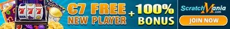 Scratch Mania Casino $7 no deposit bonus or 70 gratis spins