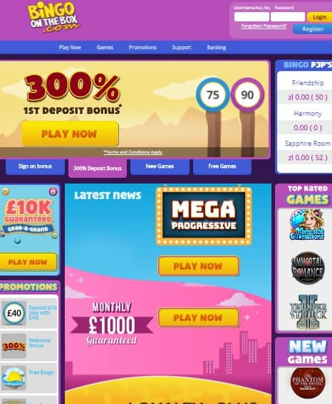 Bingo On The Box Casino Online