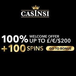 Casinsi Casino (casinsi.com) 100 free spins + 100% extra bonus on deposit